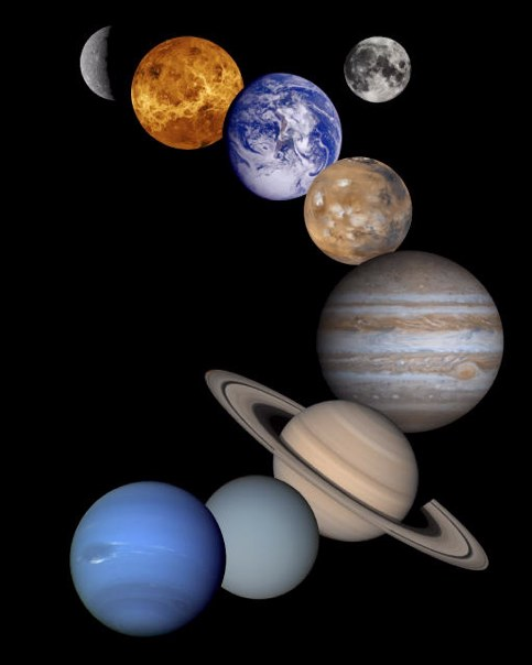 Montage of the Planets and Earths Moon. Mercury to Neptune are Included.